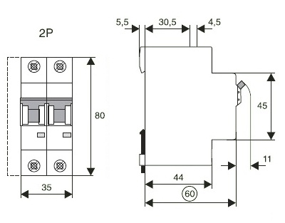 Габаритные размеры выключателя Moeller PL6