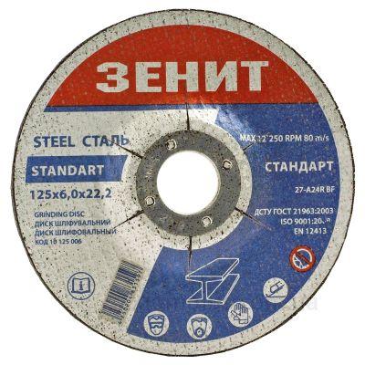 Шлифовальный диск по металлу Зенит 10125006 125х6,0х22,2мм