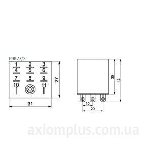 Габаритные размерыпромежуточного реле РЭК77/3(LY3)