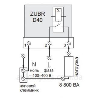 Схема подключения Реле напряжения ZUBR D40