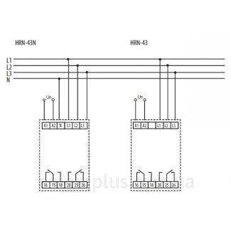 схема подключения реле контроля фаз HRN-43N/24V