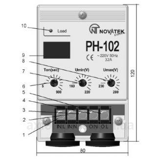 схема реле напряжения РН-102