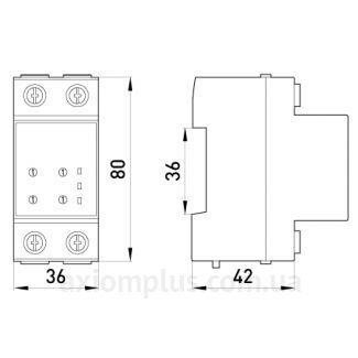 Габаритные и установочные размеры реле контроля напряжения e.control.v01