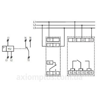схема подключения реле контроля фаз HRN-56/400V