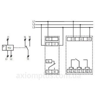 схема подключения реле контроля фаз HRN-56/120V