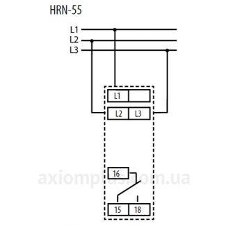 схема подключения реле контроля фаз HRN-55