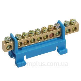 Шина (PE) ШНИ-6х9-10-С-Ж 100А (10 контактов контактов) (синий цвет) фото