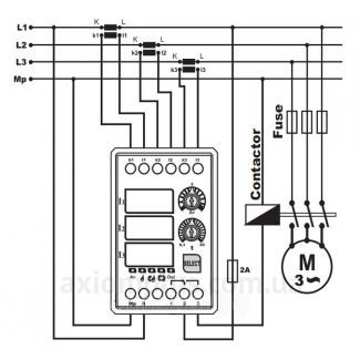 Схема подключения трехфазного реле тока