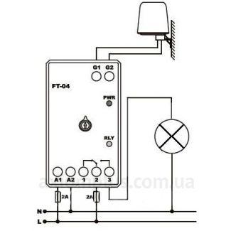 Схема подключения сумеречного реле FT-04