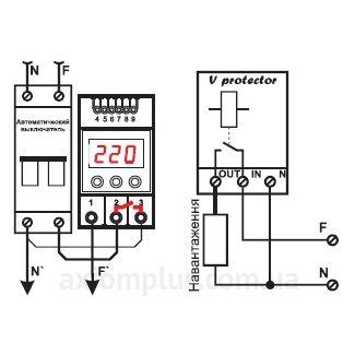 Схема подключения реле напряжения V-protector 32A DigiTOP