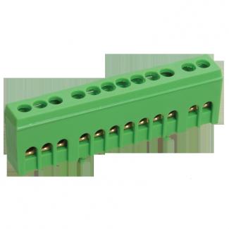 Шина (PE) ШНИ-6х9-12-К-З 100А (12 контактов контактов) (зеленый цвет) фото