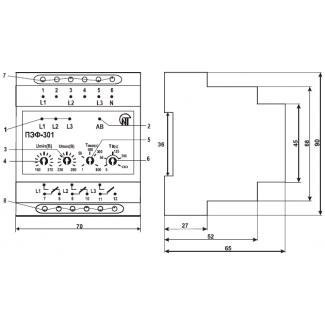 Лицевая панель переключателя ПЭФ-301 и его габариты