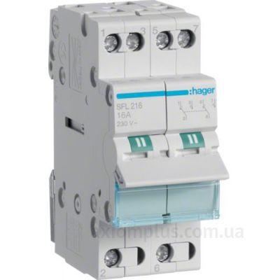 Модульный перекидной 2P выключатель нагрузки 1-2 на 16А Hager SFL216