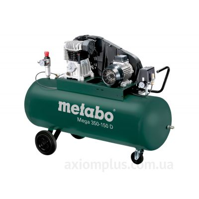 Фото Mega 350-150 D воздушного компрессора на двух парах колес с 150л ресивером зеленого цвета от компании Metabo.