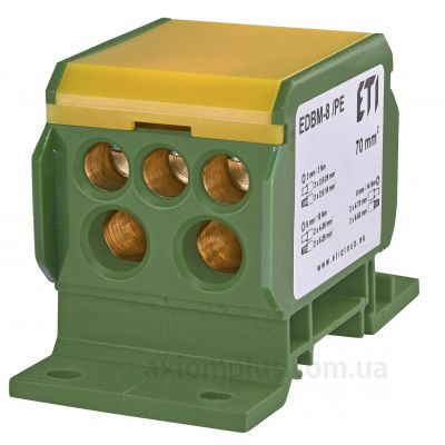 EDBM-8/PE ETI желто-зеленого цвета (на 7 контактов) (S <sub>кабеля</sub> до 70мм²) , I<sub>n</sub>=192А