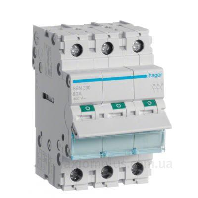 Модульный разрывной 3P выключатель нагрузки 0-1 на 100А Hager SBN390