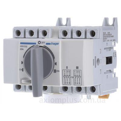 Модульный перекидной 3P рубильник 1-0-2 на 20А Hager HIM302