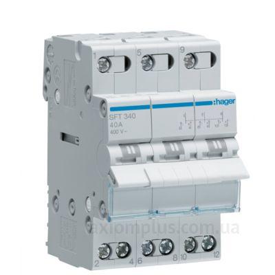 Модульный перекидной 3P рубильник 1-0-2 на 40А Hager SFT340