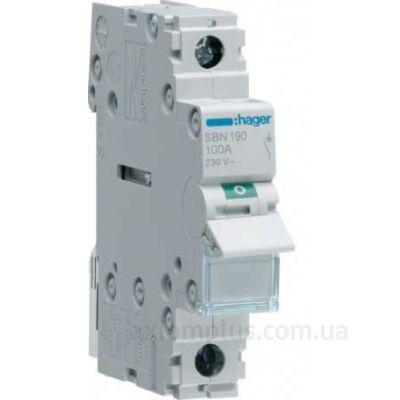Модульный разрывной 1P выключатель нагрузки 0-1 на 100А Hager SBN190