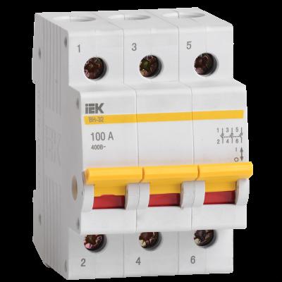 Модульный разрывной 3P выключатель нагрузки 0-1 на 100А IEK MNV10-3-100