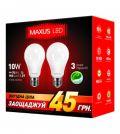2-LED-145-01 А60 10Вт Maxus (набор 2 шт.) 3000К, Е27