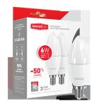 Набор ламп 2-LED-534-02 C37 6Вт Maxus 4100К, Е14