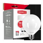 Лампа LED G95 15Вт Maxus 3000K, E27