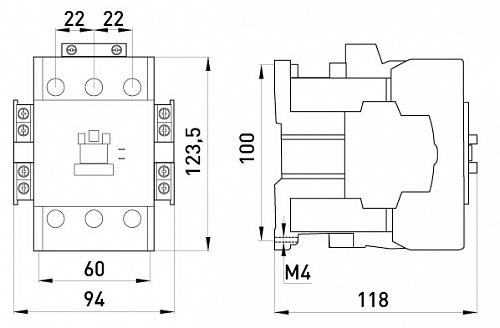 Контактор e.industrial.ukc.75.380: габаритные и установочные размеры